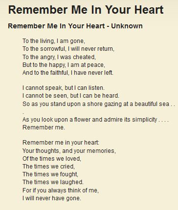 remember me in your heart Quotes About Someone Passing Away