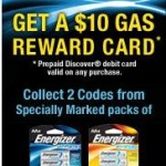 Buy Energizer Lithium Batteries and get a $10 Prepaid Discover Gas Rewards card Giveaway