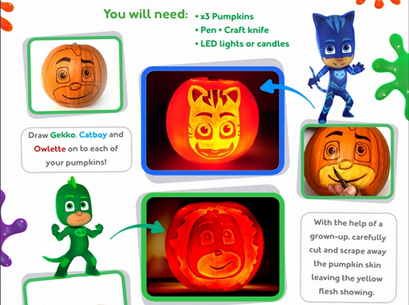 Pj Masks Halloween Costumes Pumpkin Carving Stencils And