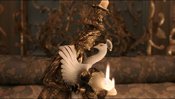 Lumiere, the candelabra, is smitten with Plumette, the feather duster, in Disney's BEAUTY AND THE BEAST, a live-action adaptation of the studio's animated classic which is a celebration of one of the most beloved stories ever told.