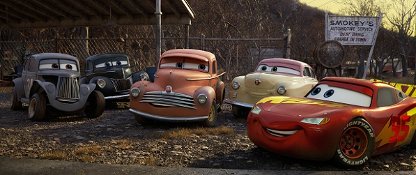 """MEET THE LEGENDS—Lightning McQueen comes hood to hood with agroup of characters who represent the roots of stock car racing—and provide a link to Lightning's late coach and mentor, Doc Hudson. From left: River Scott (voice of Isiah Whitlock Jr.), Junior""""Midnight""""Moon (voice of Robert Glenn""""Junior""""Johnson), Smokey (voice of Chris Cooper), Louise""""Barnstormer""""Nash (voice of Margo Martindale), and Lightning himself (voice of Owen Wilson).""""Cars 3""""opens in U.S. theaters on June 16, 2017.©2017 Disney•Pixar. All Rights Reserved."""