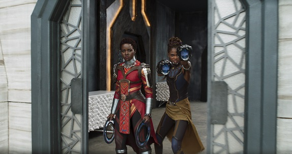Marvel Studios' BLACK PANTHER..L to R: Nakia (Lupita Nyong'o) and Shuri (Letitia Wright)..Ph: Film Frame..©Marvel Studios 2018