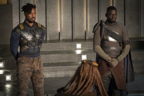 Marvel Studios' BLACK PANTHER..L to R: Erik Killmonger (Michael B. Jordan) and W'Kabi (Daniel Kaluuya) ..Ph: Matt Kennedy..©Marvel Studios 2018