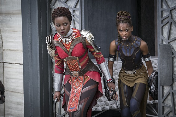 Marvel Studios' BLACK PANTHER..L to R: Nakia (Lupita Nyong'o) and Shuri (Letitia Wright)..Photo: Matt Kennedy..©Marvel Studios 2018