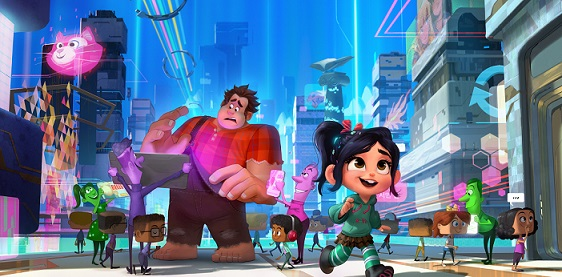 """""""Ralph Breaks the Internet: Wreck-It Ralph 2"""" leaves Litwak's video arcade behind, venturing into the uncharted, expansive and thrilling world of the internet—which may or may not survive Ralph's wrecking. Video game bad guy Ralph (voice of John C. Reilly) and fellow misfit Vanellope von Schweetz (voice of Sarah Silverman) must risk it all by traveling to the world wide web in search of a replacement part to save Vanellope's video game, Sugar Rush. In way over their heads, Ralph and Vanellope rely on the citizens of the internet—the netizens—to help navigate their way, including a webite entrepreneur named Yesss (voice of Taraji P. Henson), who is the head algorithm and the heart and soul of trend-making site """"BuzzzTube."""" Directed by Rich Moore (""""Zootopia,"""" """"Wreck-It Ralph"""") and Phil Johnston (co-writer """"Wreck-It Ralph,"""" """"Cedar Rapids,"""" co-writer """"Zootopia,""""), and produced by Clark Spencer (""""Zootopia,"""" """"Wreck-It Ralph,"""" """"Bolt""""), """"Ralph Breaks the Internet: Wreck-Ralph 2"""" hits theaters on Nov. 21, 2018."""